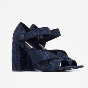 Zara basics blue black chunky snap strap heels 9